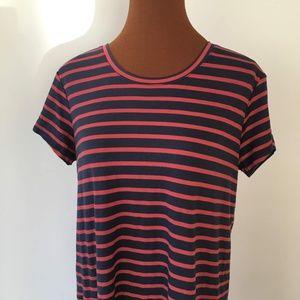 Caslon Striped Shortsleeve Red & Blue Shirt Dress